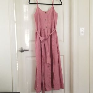 Vero Moda Blush Midi Smock Dress w Belt & Pockets